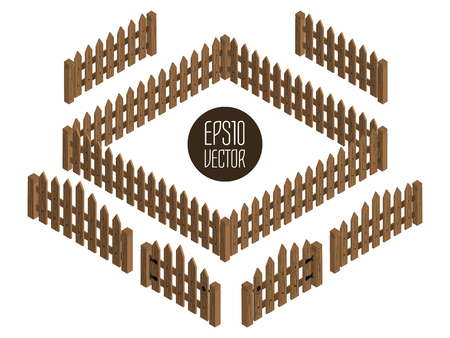 Wooden isometric fences and gates. Vector template. Design elements isolated on white background.