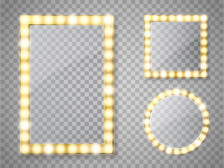 Lusterko do makijażu na białym tle ze światłami. Wektor ramki kwadratowe i okrągłe