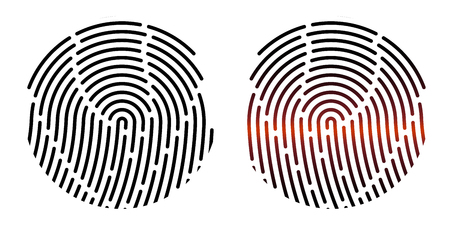 Fingerprint. Vector illustration. Security system. Digital lock