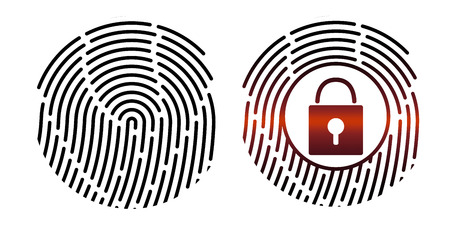 Fingerprint. Vector illustration. Security system. Digital lock