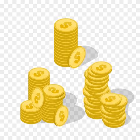 Vector Illustration of golden coins. Money illustration isolated