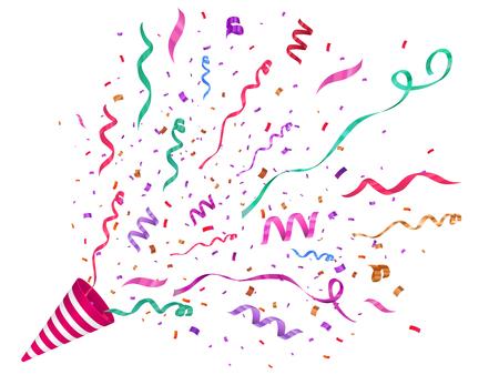 Vector confetti illustration. Festive illustration. Party popper isolated on white background. Illustration