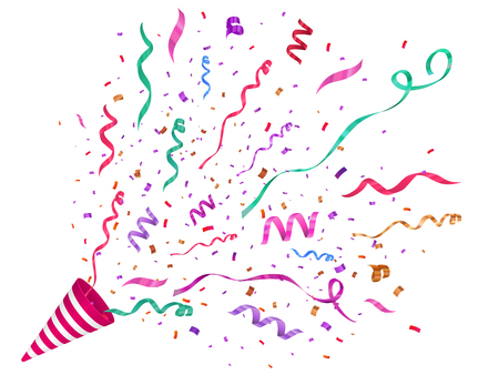 Vector confetti illustration. Festive illustration. Party popper isolated on white background. Stock Illustratie
