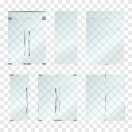 Set of glass doors and windows isolated on transparent background. Vector illustration Stock Illustratie