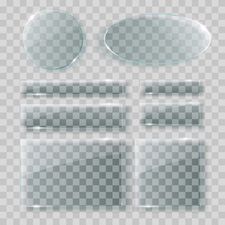 Glass plates set. Acryl banners on transparent background. Vector illustration