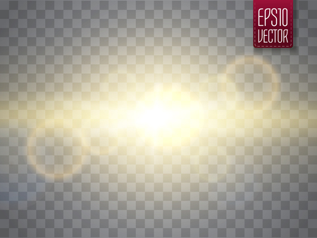 Abstract golden sun lens flare transparent special light effect design. Decor element. Star burst with rays and spotlight