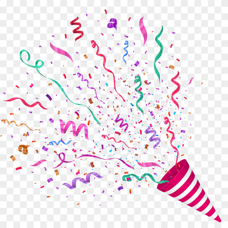 Vector confetti illustration. Festive illustration. Party popper isolated on checkered background. Illustration