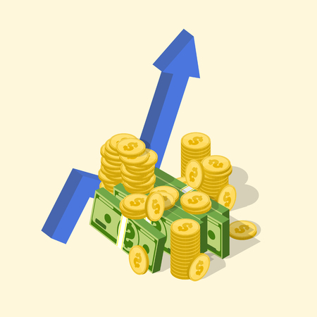 Financial success concept. Money graph. Isometric business icon. Vector illustration Vectores