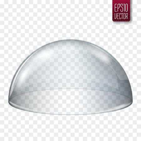 Semi-sfera di vetro trasparente isolata. Illustrazione vettoriale Archivio Fotografico