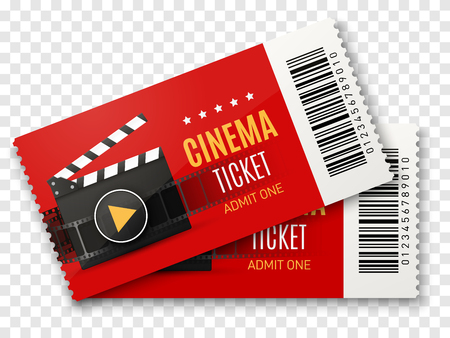 Cinema tickets background. Vector movie poster illustration.