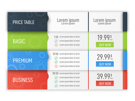 Price table for websites and applications. Business infographic template. Vector illustration Stockfoto - 102664677