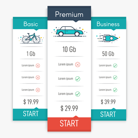 Price table for websites and applications. Business template in flat style. Vector illustration