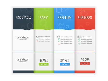 Price table for websites and applications. Business infographic template. Vector illustration