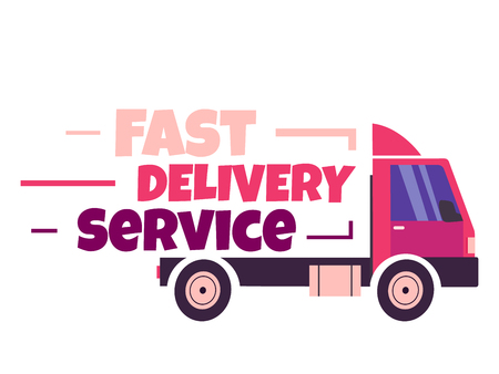 Fast delivery vector illustration. Truck with letters isolated on black. Delivery icon