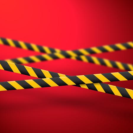 Lignes d'avertissement noires et jaunes isolées. Bandes d'avertissement réalistes. Signes de danger. Fond de vecteur.