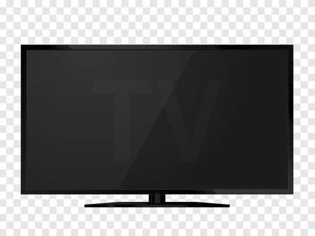 Black realistic TV screen isolated. lcd panel mockup. Blank television. Vector illustration.