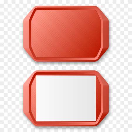 Red Plastic Tray Salver isoliert. Vektor-Illustration. Vektorgrafik