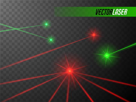 Laser beams set. Red and green lights. Vector illustration.