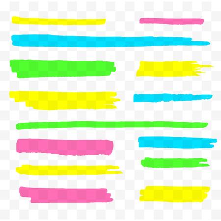 Set di evidenziatori colorati. Pennarelli gialli, verdi, viola e blu. Linee di pennello disegnate a mano trasparenti. Illustrazione vettoriale