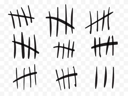 Marques de pointage sur un mur de prison isolé. Compter les signes. Illustration vectorielle Vecteurs