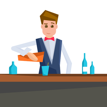 Barman pouring a cocktail into a glass. Vector illustration of bartender isolated on white background.