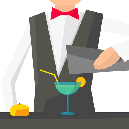 Barman pouring a cocktail into a glass. Bartender Vector illustration