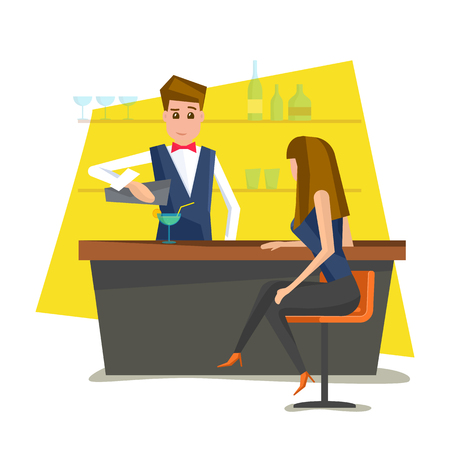 Bartender with bar counter. Barman pouring a cocktail into a glass for nice woman. Vector illustration