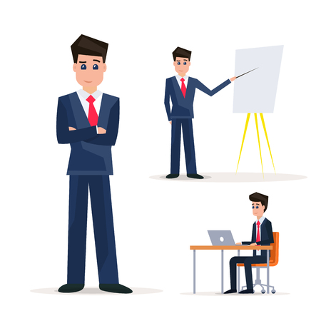 Set of Businessman character design. Businessman with flipchart. Business presentation. Workplace vector illustration.