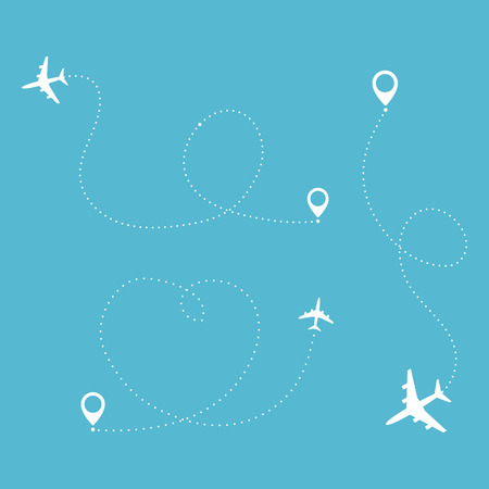 Airplane travel concept. Plane with destinations points and dash route line. Vector silhouette illustration