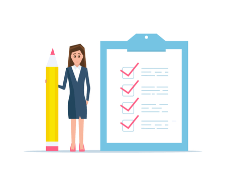 Checklist concept vector illustration. Business woman with a big pencil and checklist on a clipboard paper.