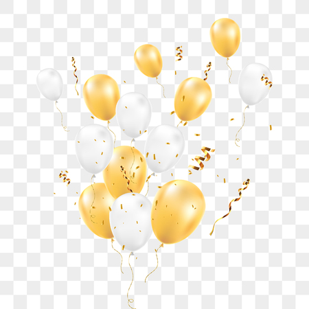 Balloons with confetti isolated on transparent background. Happy birthday concept. Vector illustration. 矢量图像