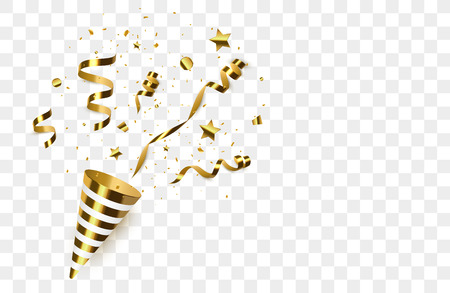 Confeti dorado con poppers de fiesta aislado. Explosión de confeti. Ilustración vectorial Ilustración de vector