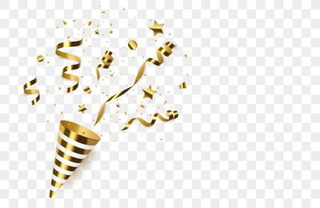 Gouden confetti met geïsoleerde partijpoppers. Confetti barstte. vector illustratie Vector Illustratie