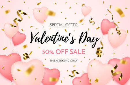 Valentines day sale background. Discount offer. Vector illustration