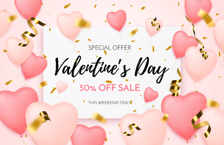 Valentines day sale background. Discount offer. Vector illustration