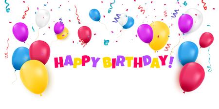Fondo de feliz cumpleaños con globos de colores y confeti. Ilustración vectorial festiva