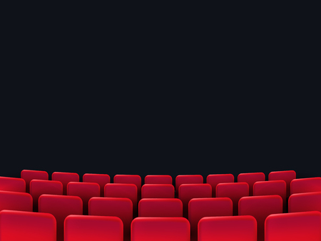 Cinema seats isolated on black background. Vector illustration.