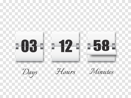 Countdown timer with numbers isolated on transparent background. Clock counter. Vector template
