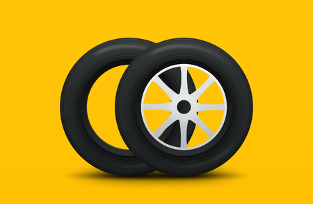Set of tires and car wheels. 3d realistic car tires isolated on white. Vector template