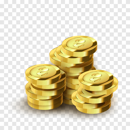 Realistic golden coins isolated. Vector jackpot illustration. Success concept.