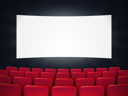 Cinema screen with red seats. Movie premiere poster design. Vector background. Stock Vector - 115838766