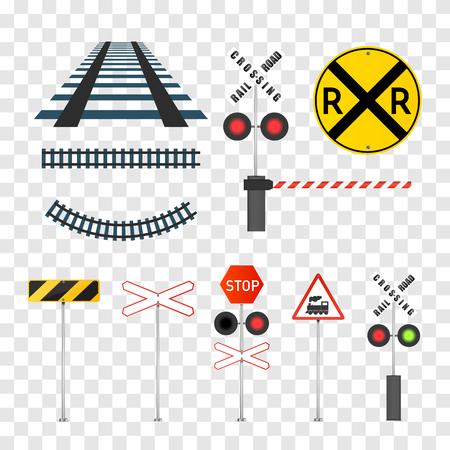 Conjunto de señales de ferrocarril aislado sobre fondo transparente. Ilustración vectorial.
