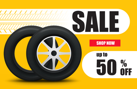 Tire car sale banner. Car wheels and tires sale poster. Vector illustration Illustration
