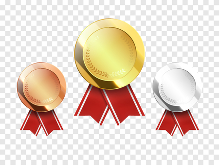 Set of gold, silver and bronze Award medals isolated on transparent background. Vector illustration