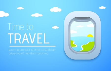 Time to travel design poster. View from airplane. Plane window. Vector background