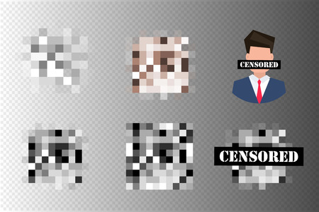 Pixel censored signs. Black censor bar concept. Censorship rectangle. Vector illustration