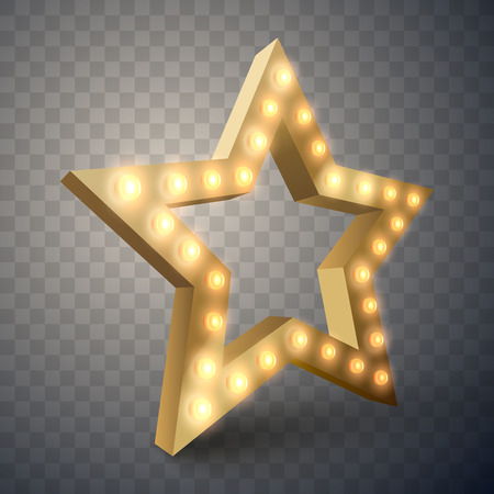Star with lights isolated. Luxury vector illustration of golden star with shine light bulbs.