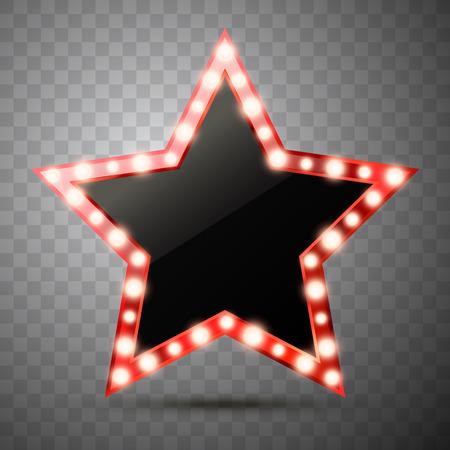 Gwiazda ze światłami na białym tle. Ilustracja wektorowa luksusu złotej gwiazdy z żarówkami połysku.