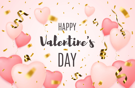 Valentines day sale background with Heart Shaped Balloons and golden confetti. Discount offer. Vector design