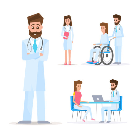 Medical concept. Doctors and patients set. Consultation and diagnosis. Vector illustration